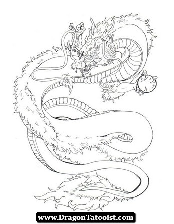 349x450 Japanese Dragon Tattoo Outline 03