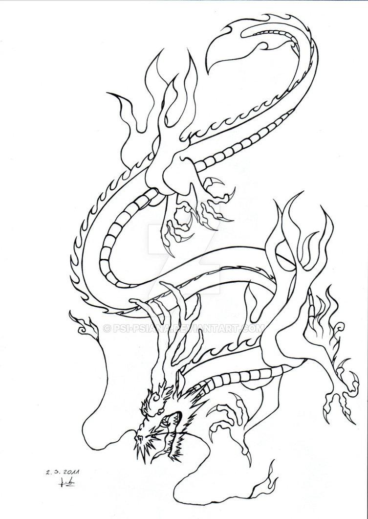 753x1061 Japanese Dragon By Psi Psiana