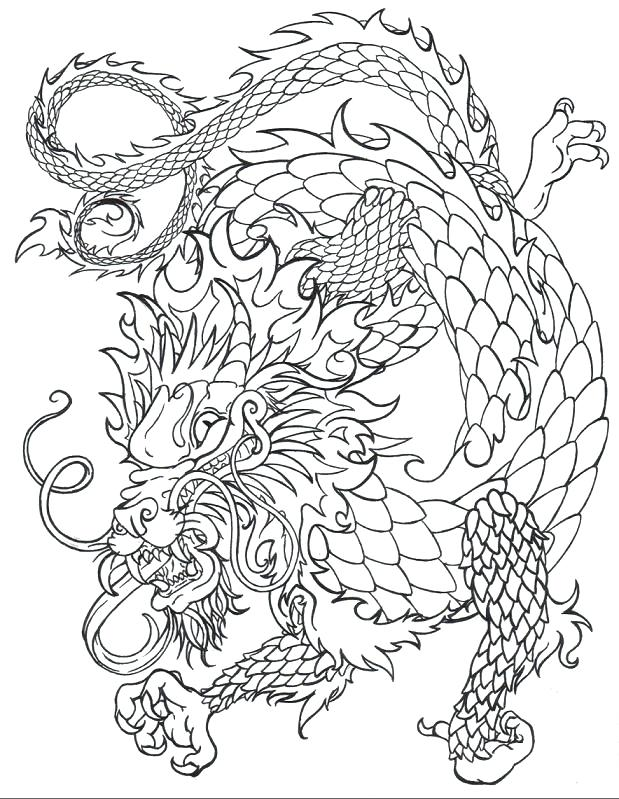 Japanese Dragon Line Drawing at GetDrawings | Free download