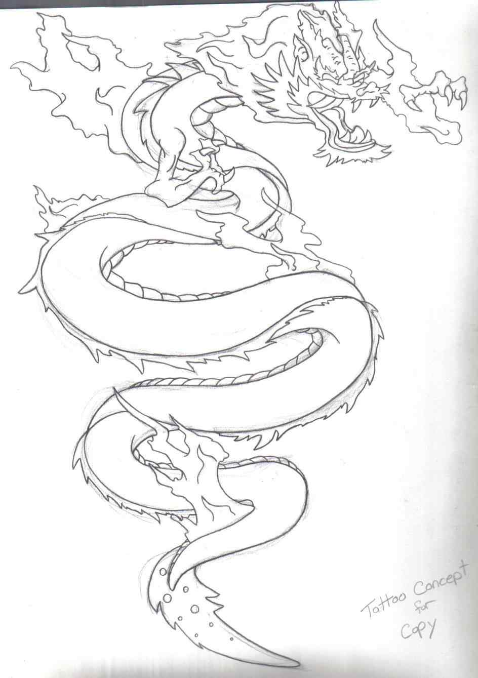 944x1339 Japanese Dragon Tattoo Outline
