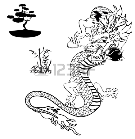 435x450 Japanese Dragon Tattoo Tshirt In Vector Format Royalty Free