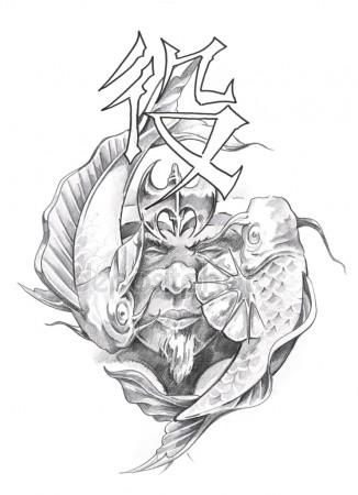 326x450 Japanese Dragon Tattoo Sketch Stock Photo Outsiderzone