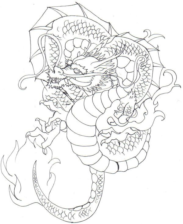 600x733 9 Best Japanese Dragon Tattoo Drawings Images