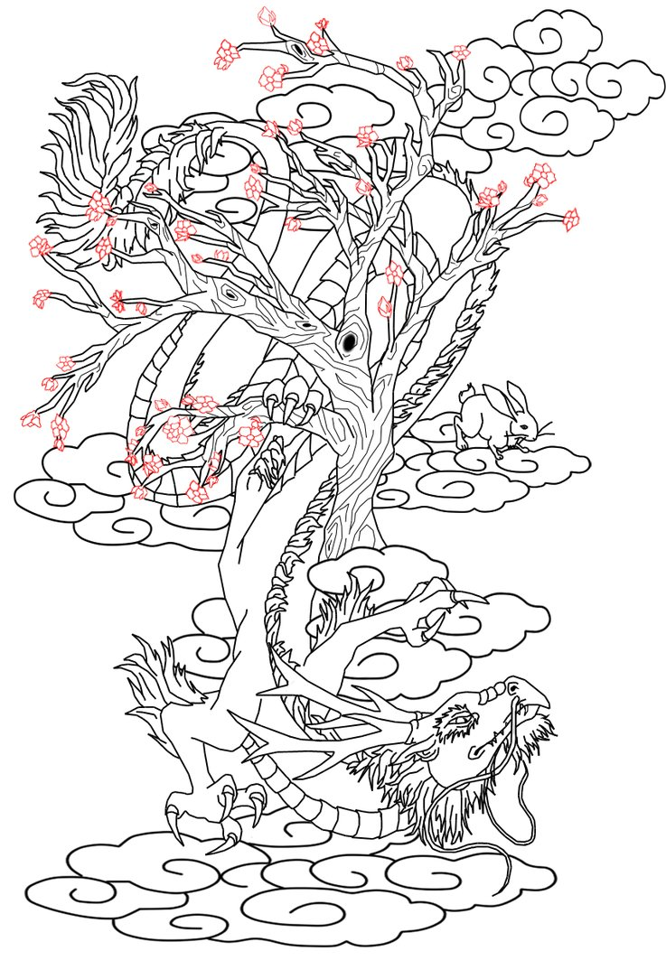 737x1084 Tattoo Design Chinese Dragon And Hare By Kitiharumi