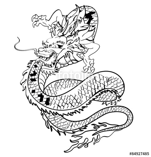 483x500 Japanese Dragon Tattoo Tshirt In Vector Format Stock Image