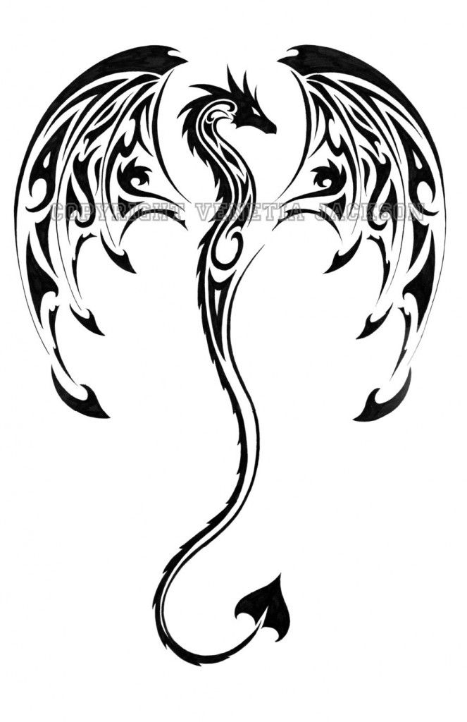 663x1024 Black Tribal Dragon Tattoo Stencil By Spirit Candy