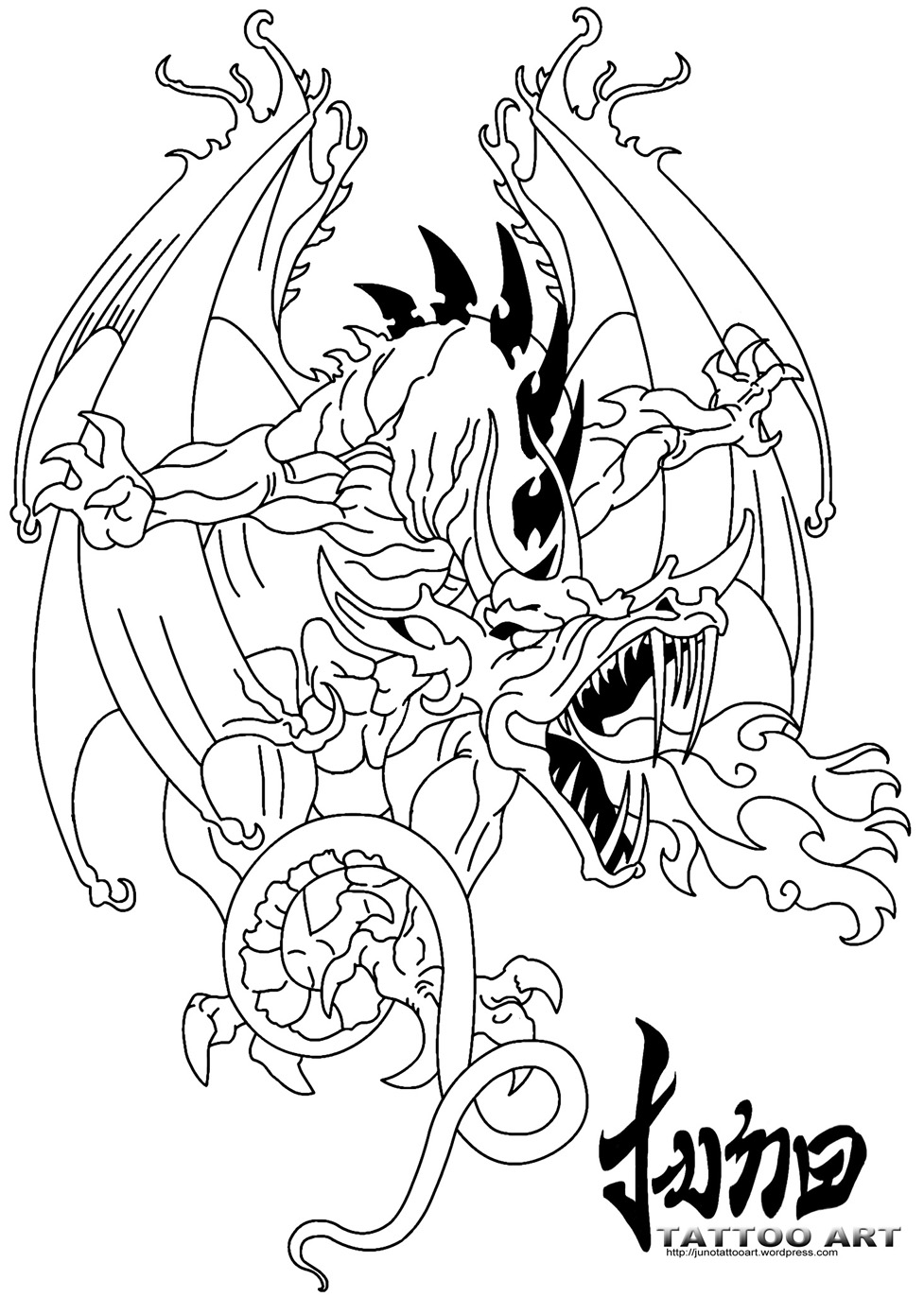 977x1372 Collection Of Fantasy Dragon Tattoo Sample