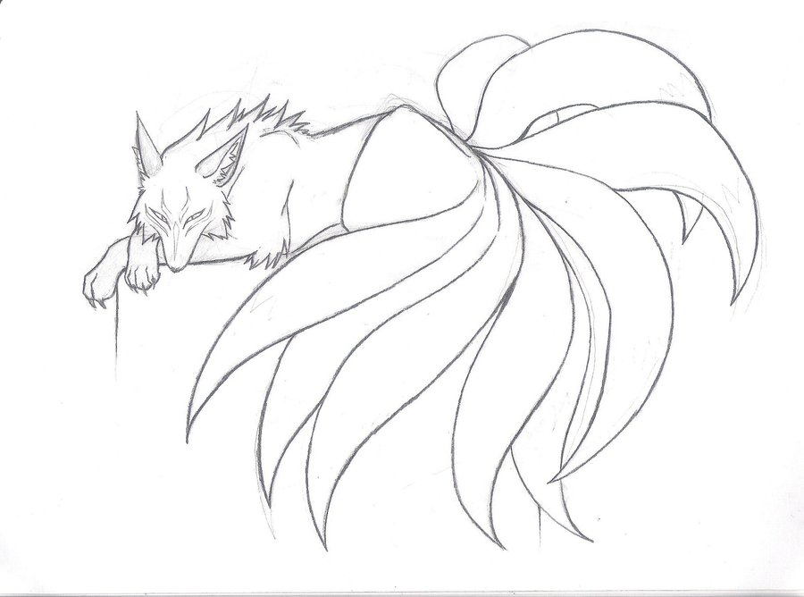 900x668 Japanese Nine Tailed Fox Legend Nine Tailed Beauty Sketch By
