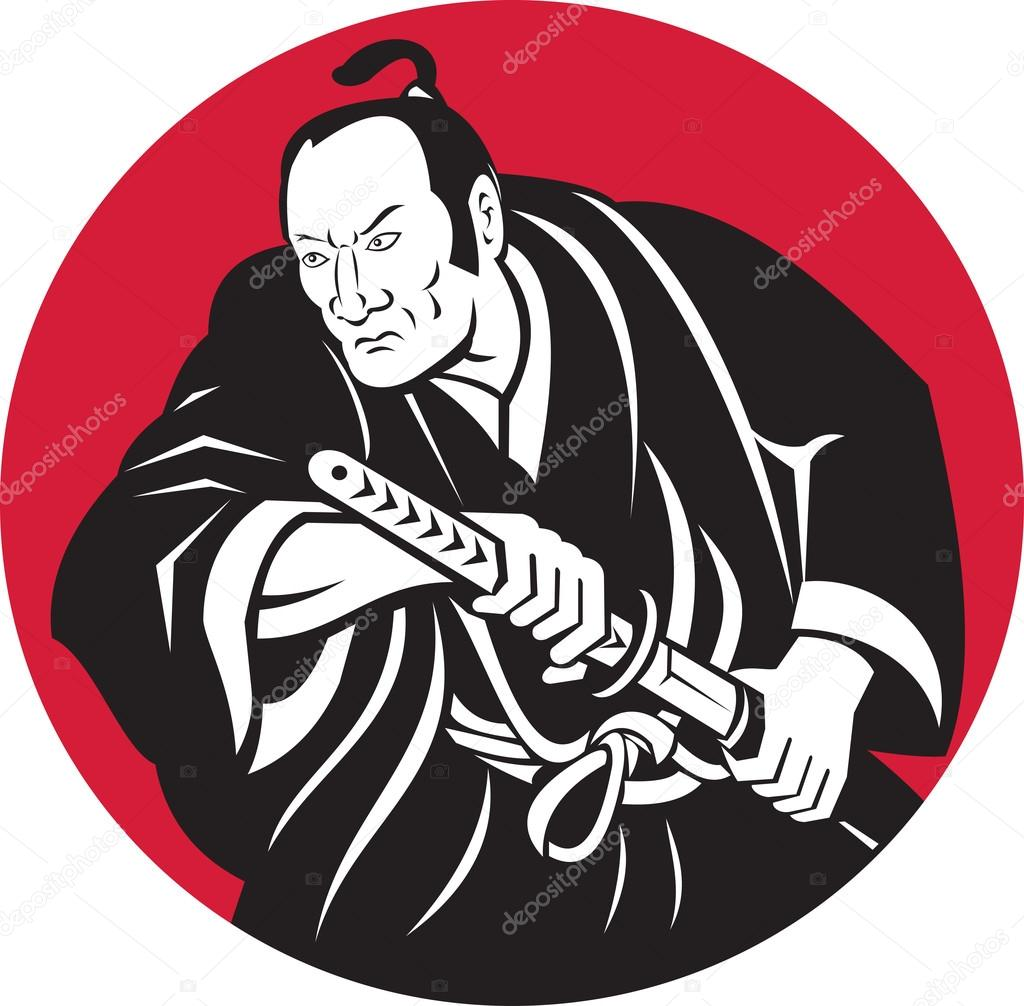 1024x1006 Japanese Samurai Warrior Drawing Sword Stock Photo Patrimonio