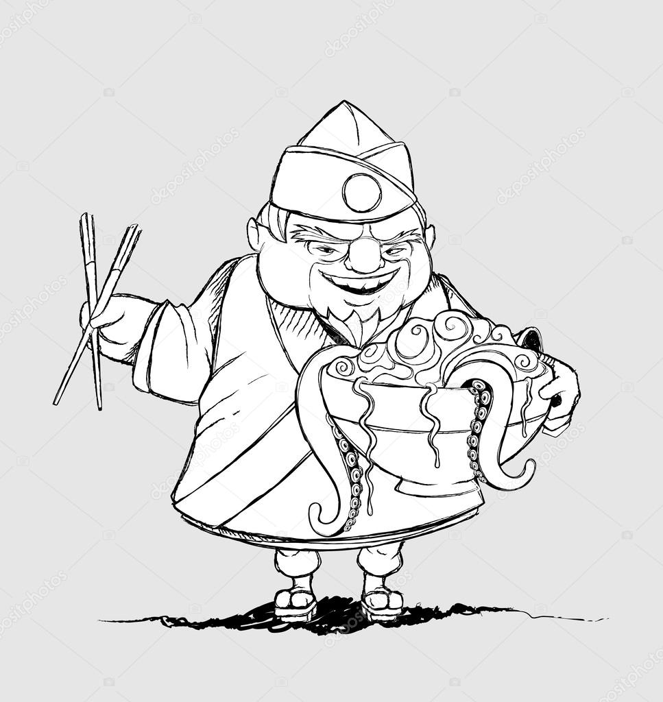967x1024 Japanese Chef With A Bowl Of Exotic Foods. Freehand Drawing
