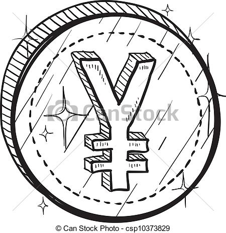 450x463 Japanese Yen Sketch. Doodle Style Coin With Currency Symbol
