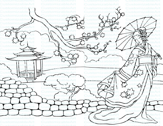 550x425 Oriental Lady Drawing Coloring Page Picture Traditional National