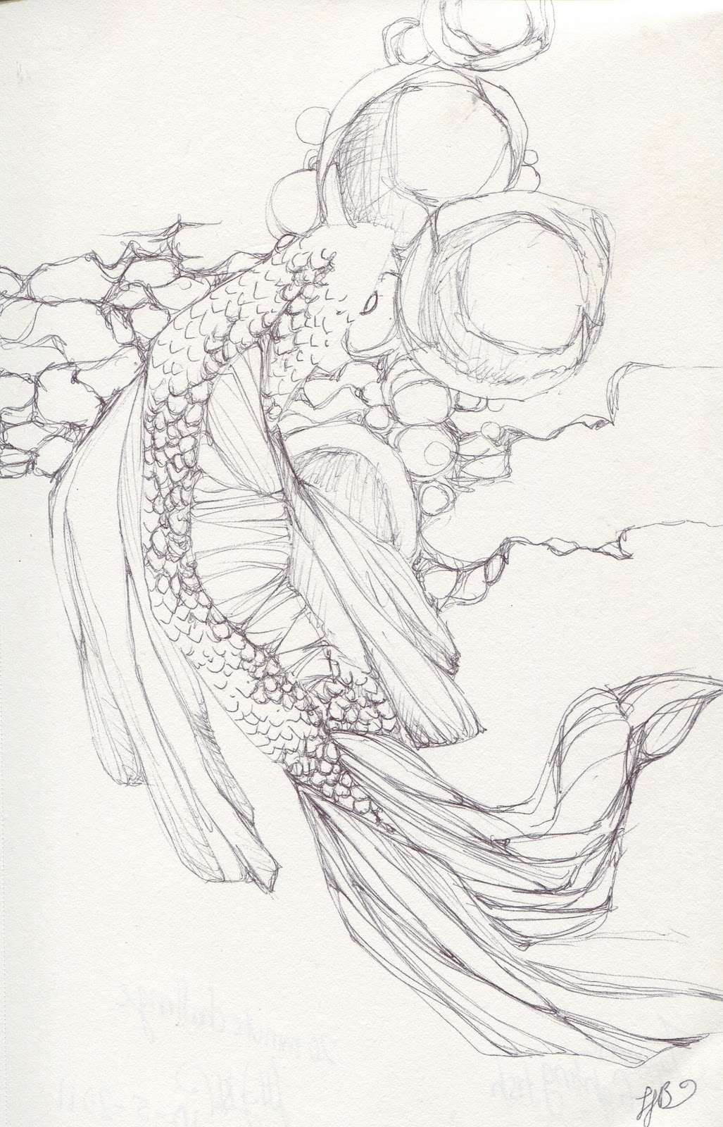 1027x1600 Japanese fighting fish This Is A 20 Minute Ball Point Pen