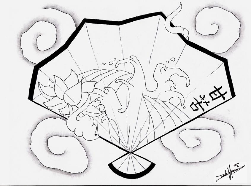 846x627 Japanese Fan Tattoo Flash By Aworldasleep