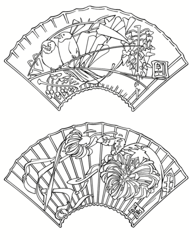 378x480 Japanese Fans Coloring Page Free Printable Coloring Pages