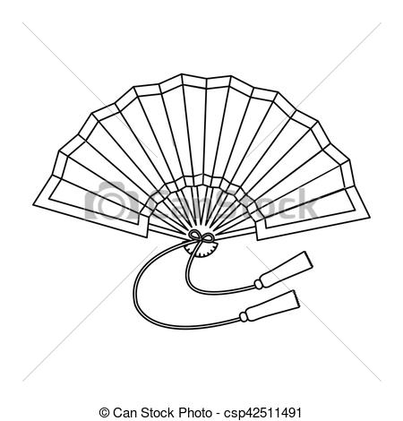 450x470 Japanese Fan Icon Outline Style Clip Art And Stock Illustrations