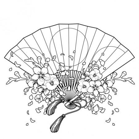 450x450 Pattern With Japanese Hand Fan And Sakura Stock Vector