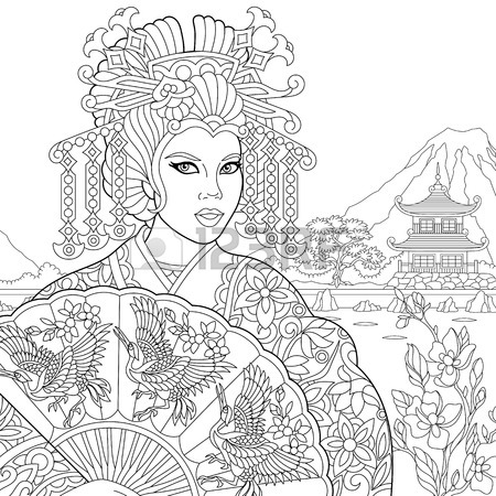 450x450 Coloring Page Of Geisha (Japanese Dancing Actress) Holding Paper