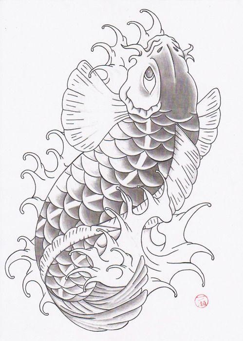 499x700 Black And Grey Fish Drawing Of Koi Tattoo Art