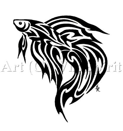 416x443 Trend Tribal Fish Tattoos Designs