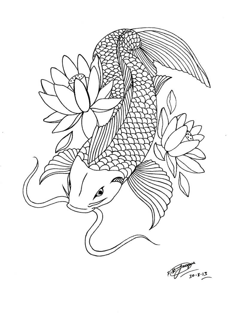 762x1048 Japanese Fish And Lotus Flower Tattoo Outline On Paper