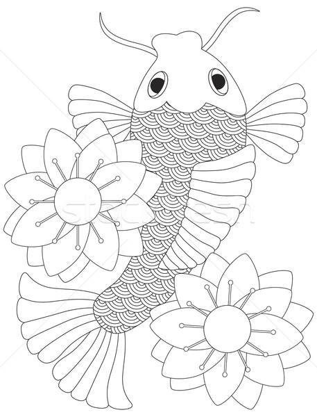 457x600 Japanese Or Chinese Koi Fish Line Art Vector Illustration Jit