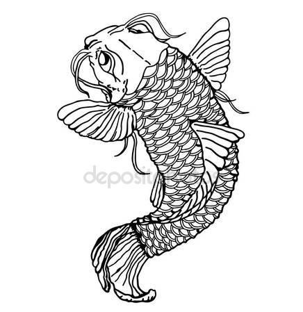 436x449 Sketch Tattoo Japanese Catfish Close Detailed Sketch Fish Stock