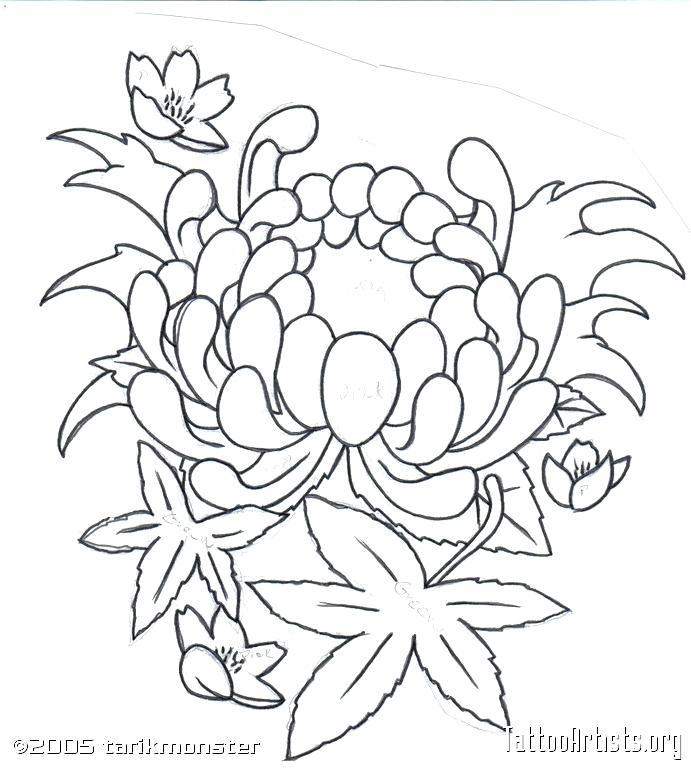691x768 Japanese Flower Drawing Flower For Tattoo Media