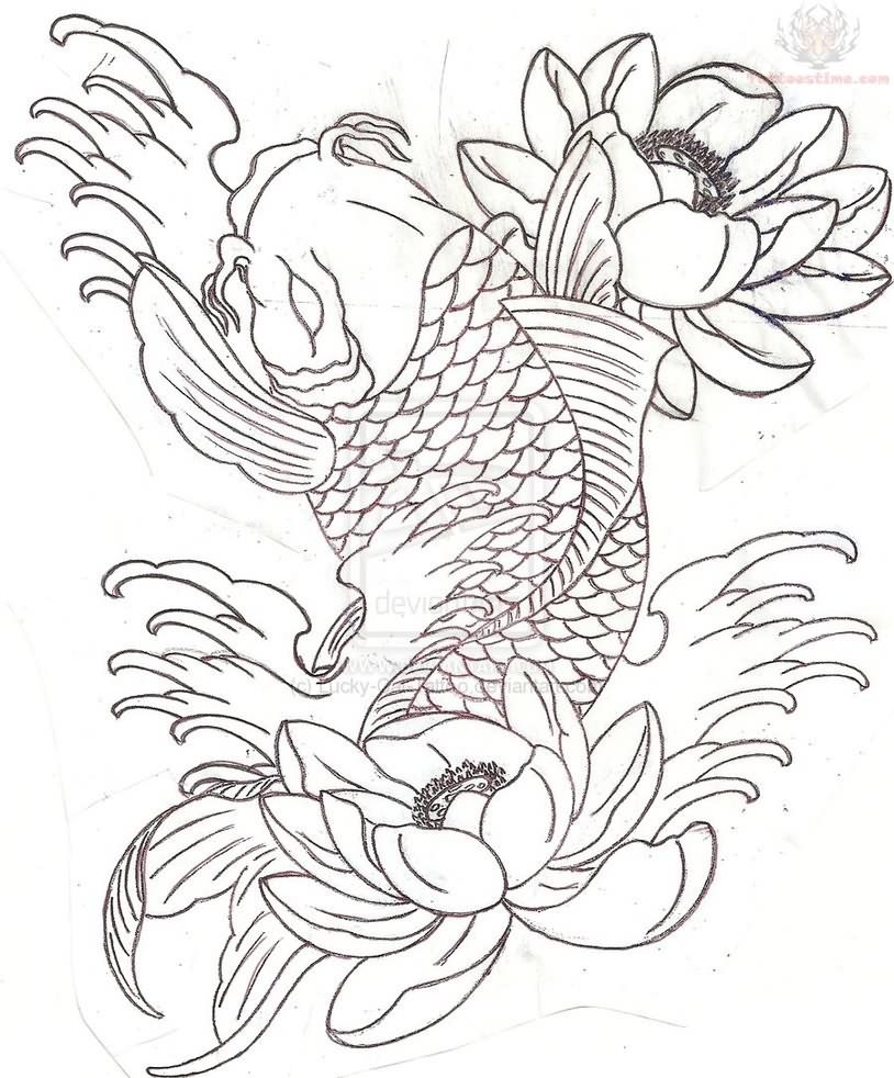 814x982 Collection Of Koi Fish And Lotus Tattoo Sketch