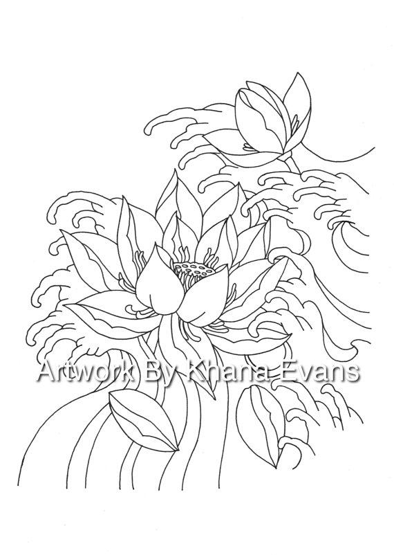 570x802 Japanese Lotus Flower Tattoo Design Pdf A4 Printout Colouring