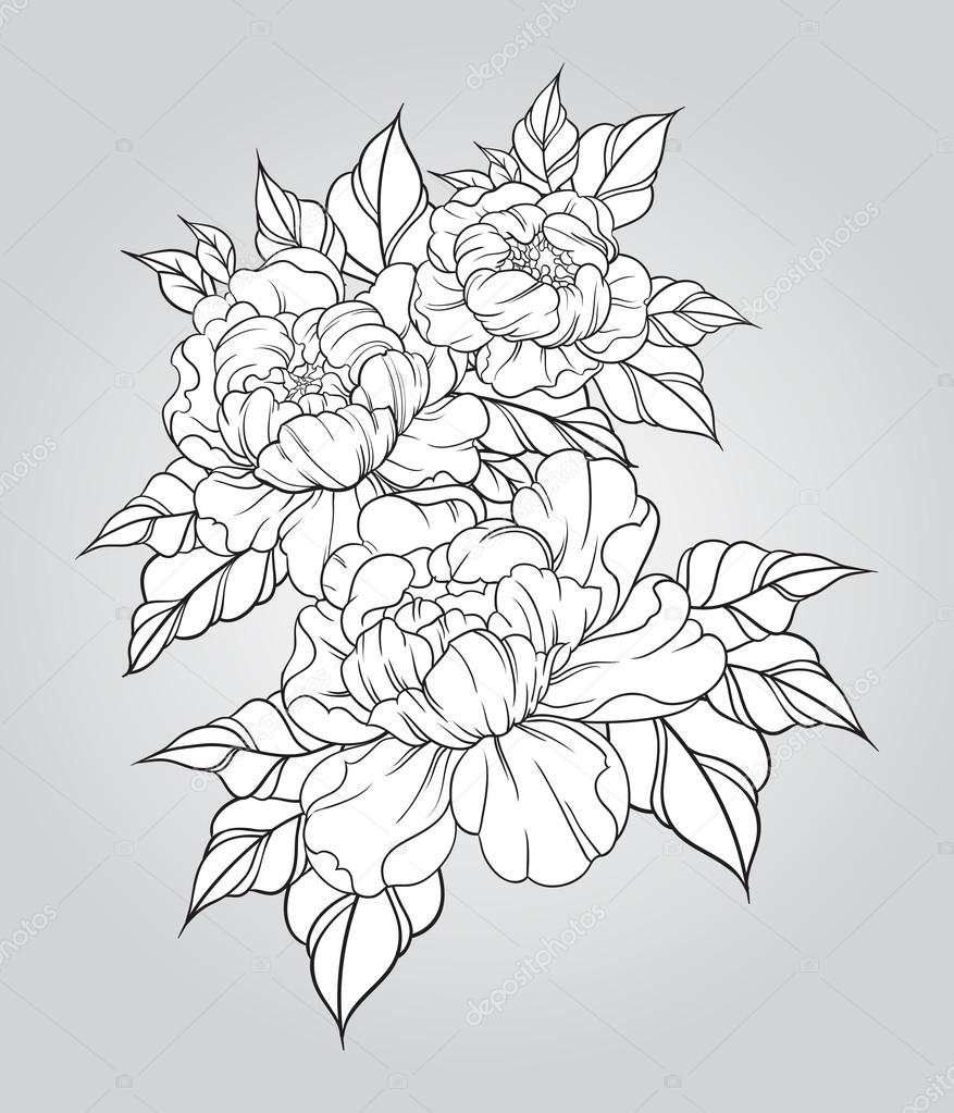 877x1023 Hand Drawn Peonies In Japanese Tattoo Traditional Style. Floral