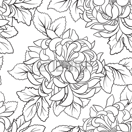 450x450 Seamless Pattern With Chrysanthemum In Japanese Style. Outline