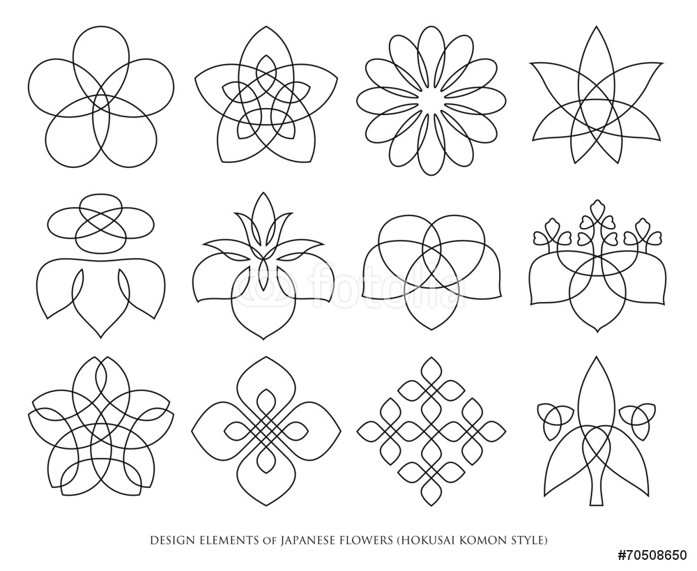 1000x819 Design Elements Of Japanese Flowers Hokusai Komon Style Wall