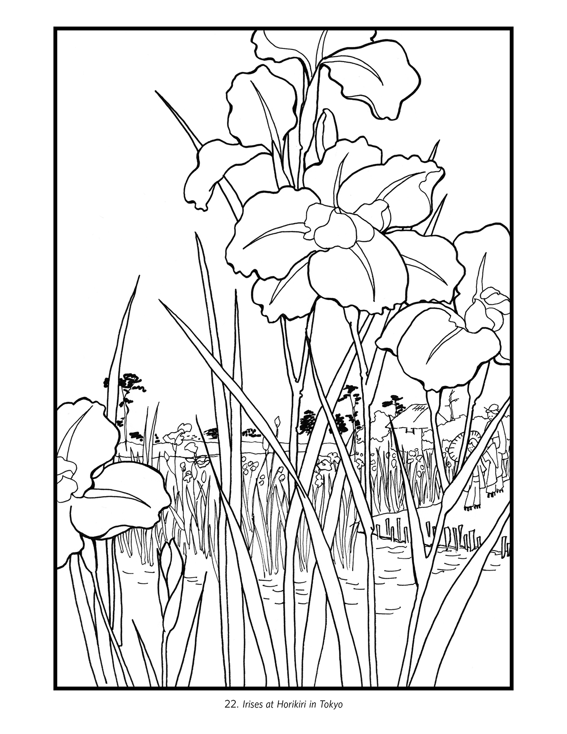 1159x1500 Hiroshige Flowers Japanese Colouring Book