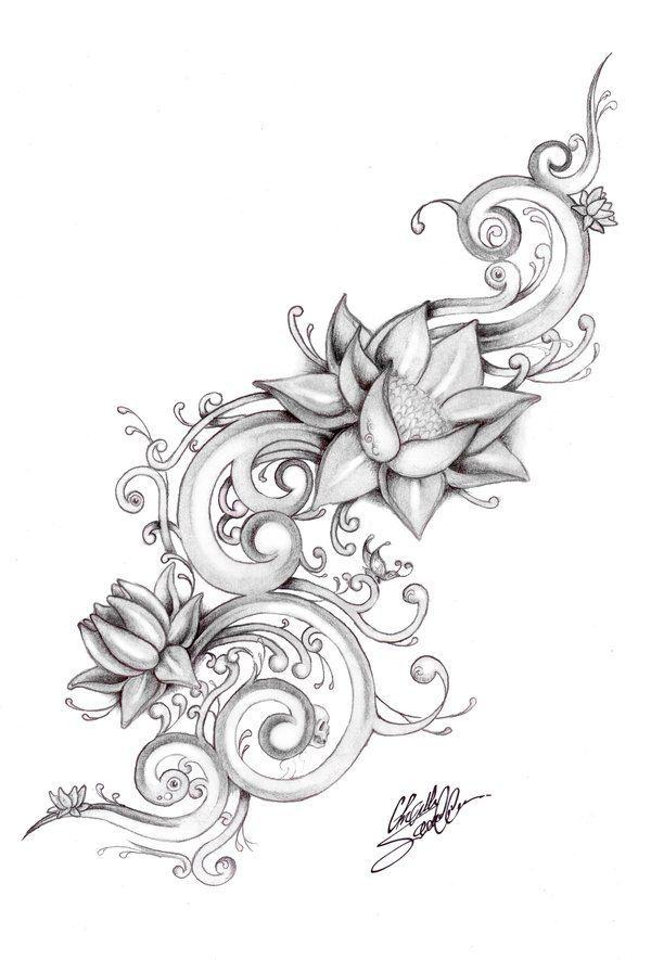 600x885 Collection Of Lotus And Flowers Tattoo Sketch
