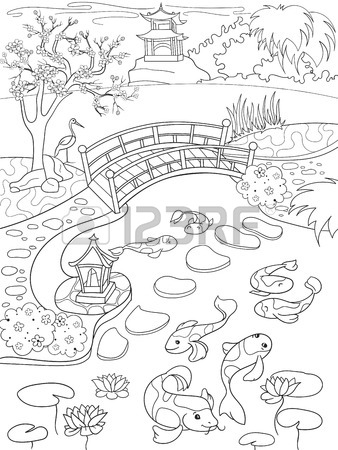 338x450 Nature Of Japan Coloring Book For Children Cartoon. Japanese
