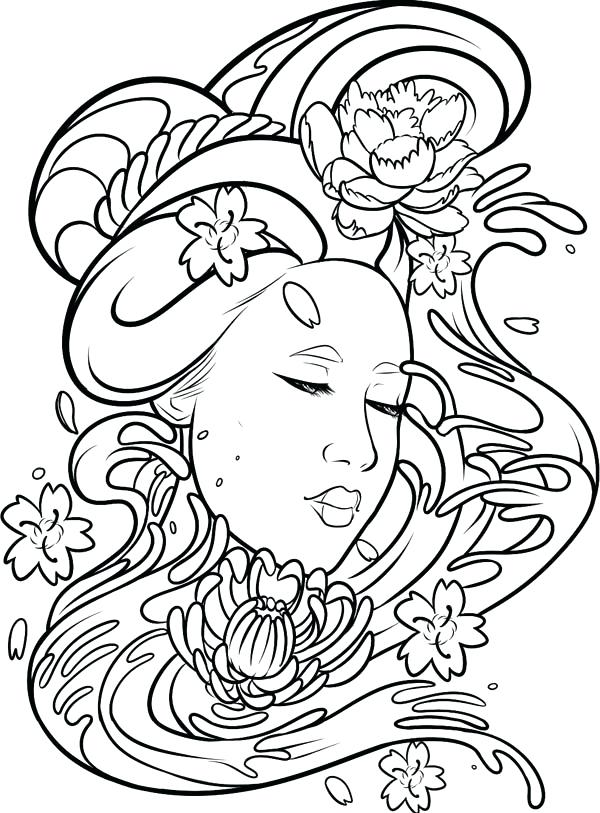 600x813 Geisha Coloring Pages Free Printable Difficult Grown Up Coloring