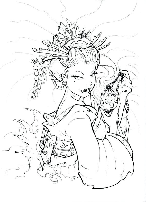 600x827 Geisha Coloring Pages Geisha Face Coloring Page Japanese Geisha