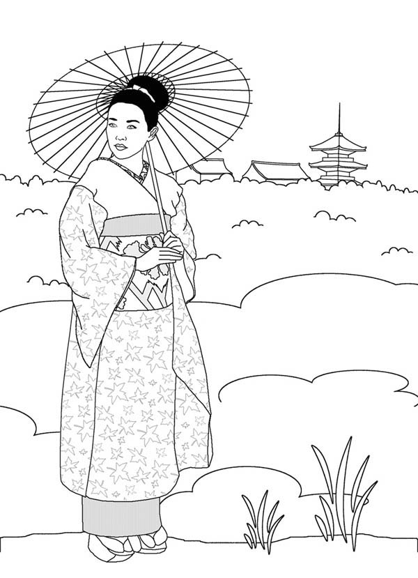 600x829 Geisha In Japan Land Coloring Page