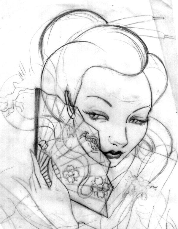 600x769 Geisha Sketch By Gaysha Diva