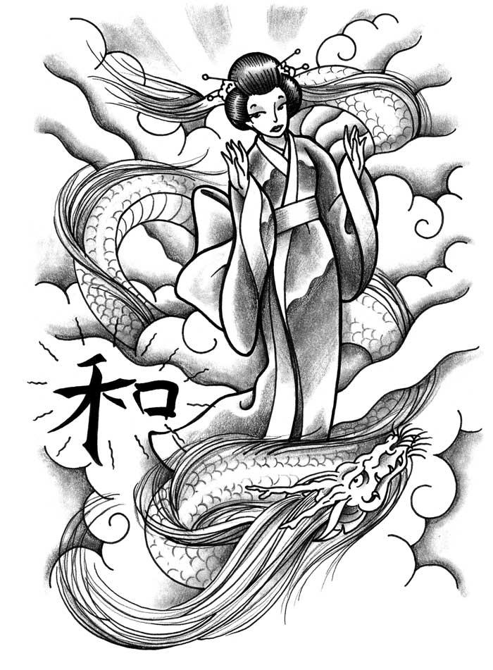 700x951 Geisha Tattoo Flashes Ideatattoo Japanese Art