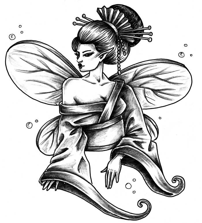 700x773 Geisha Tattoo Flashes Ideatattoo