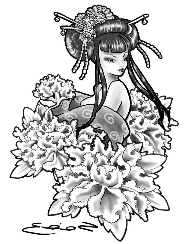 1024x1330 Japanese Geisha Tattoo Drawings