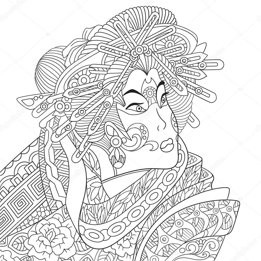 1024x1024 Zentangle Stylized Geisha Woman Stock Vector Sybirko