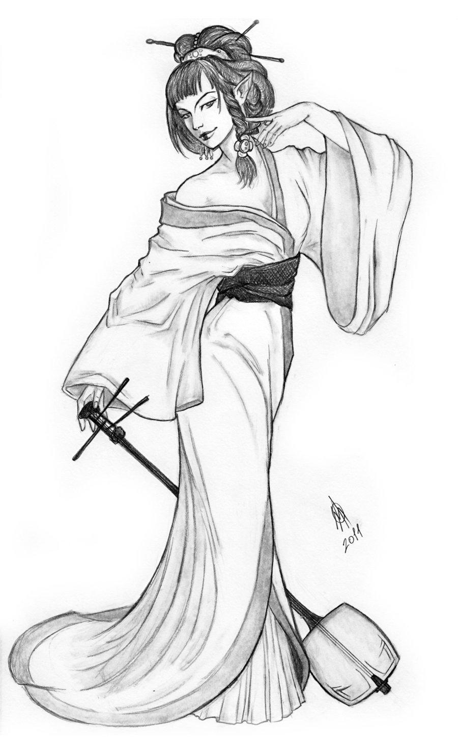 900x1481 Elven Geisha Art 1 Geisha