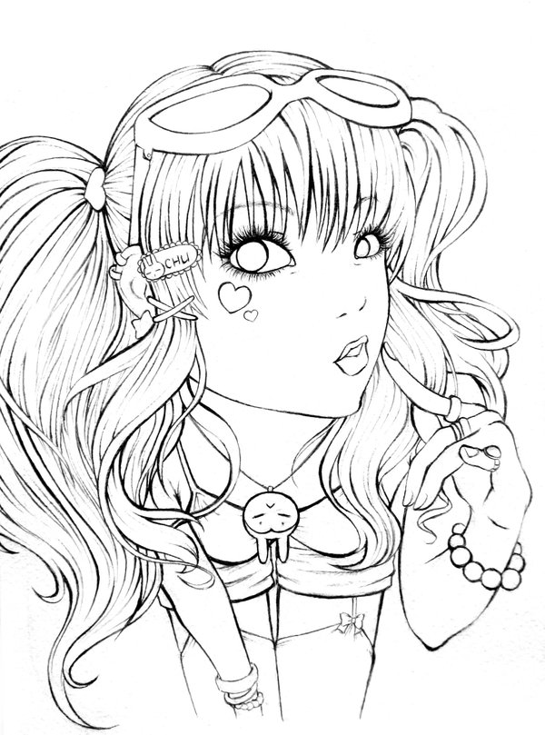 600x809 Cute Japanese Girl Lineart By ~glory Hart On Art