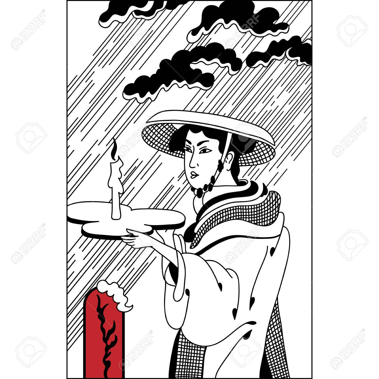 1300x1300 Japanese Girl, Geisha With A Candle In The Rain. Vintage Hand