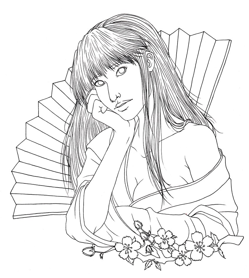 846x944 Japanese Girl Lineart By Crystallinecoley