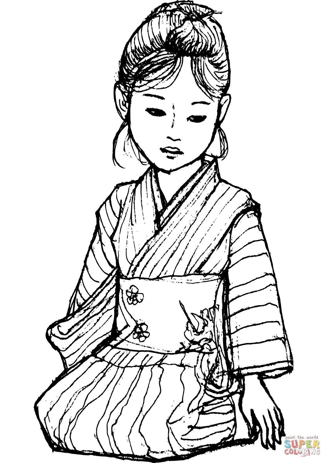 1060x1499 Japanese Girl In Kimono Coloring Page Free Printable Coloring Pages