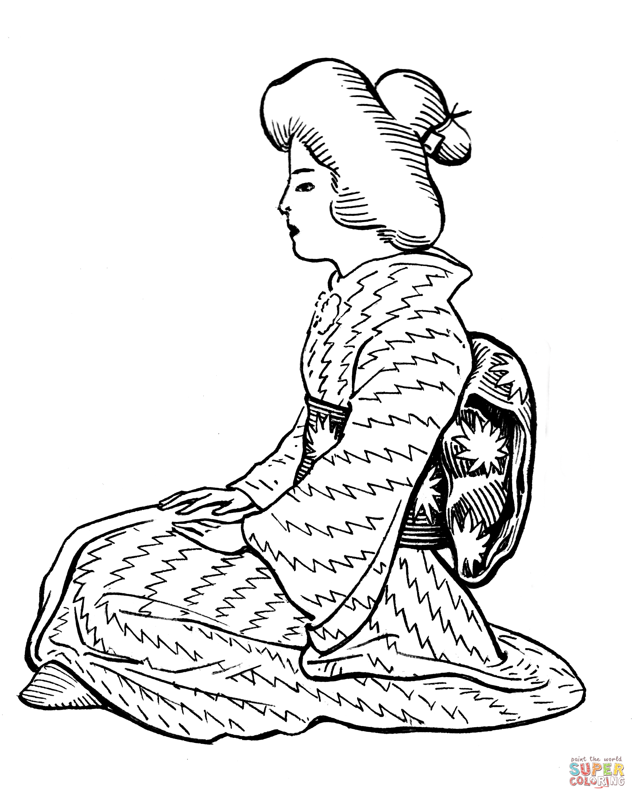 2094x2632 Japanese Woman Wearing Kimono With Obi Sash Coloring Page Free
